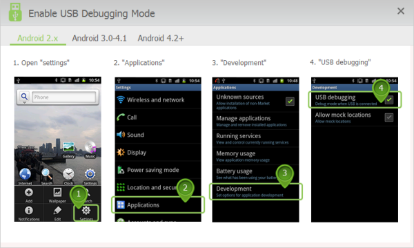 Turn on the USB debugging mode on Android 2.X