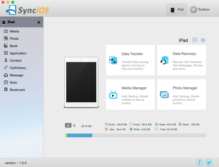 run Syncios iOS Manager for Mac